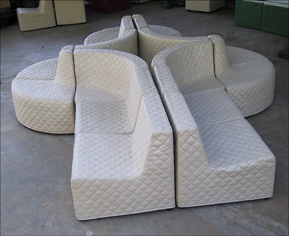Totally green sofas –100% wood free– eco-friendly, upholstered modular freeform seating systems. Low energy inputs mfg. Rapid mfg. Cartonable, Despatch –100% scalable